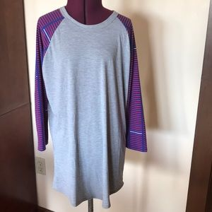 Lularoe Gray Blue Red Stripe Shirt M